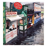 """Rain on the Boardwalk"", July 2, 1955 Giclée par George Hughes"