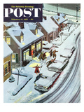 """Party After Snowfall"" Saturday Evening Post Cover  February 12  1955"