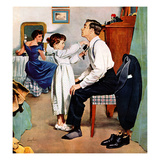 """Fixing Father's Tie"", December 31, 1955 Giclée par George Hughes"
