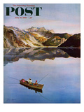 """Fishing on Mountain Lake"" Saturday Evening Post Cover  July 16  1955"