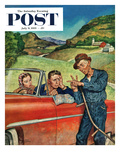 """Go Two Miles  Turn Left"" Saturday Evening Post Cover  July 9  1955"