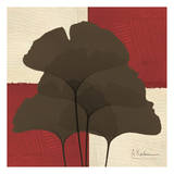 Ginkgo Brown Quad on Red