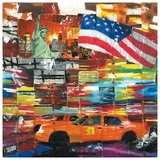 New York  2 Taxis et Drapeau