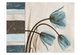 Tulip With Blue/Brown Damask Panel