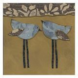 Blue Damask Birds