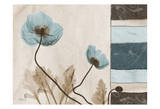 Poppies With Blue-Brown Damask Panel