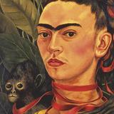 Self Portrait with a Monkey, c.1940 (detail) Reproduction d'art par Frida Kahlo