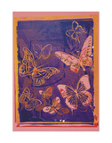 Vanishing Animals: Butterflies  c1986 (Peach on Navy)