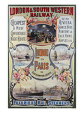 London to Paris Poster  London and South Western Railway