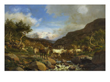 A Herd of Reindeer Fording a Stream in a Mountainous Landscape