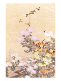 A Hanging of Gold Lame  Embroidered in Silks with Finches Perched Amongst Pink  Yellow and White…