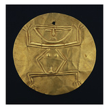 A Fine Quimbaya Gold Pectoral Disc Form with Repousse Hocker Figure