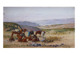 An Extensive Landscape with an Arab Caravan at Rest