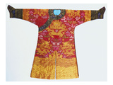 A Bronze Silk Dragon Robe  Woven with Yellow Dragons