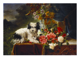 Rhododendrons in a Porcelain Vase with Roses and a Dog on a Draped Table in a Landscape