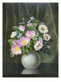 Wild Roses in a Vase on a Ledge