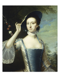 Portrait of a Lady  in a Blue and White Dress  Trimmed with Ribbons  and a Straw Hat with Blue…