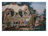 A Large Chinese Reverse Glass Painting Depicting a Festival Procession with