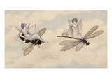 Two Fairies Flying Through the Air  One Seated on a Bee and the Other on a Dragonfly