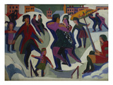 Ice Skating Rink with Skaters; Eisbahn Mit Schlittschuhlaeufern