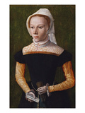 Portrait of a Lady  Three Quarter Length  Holding Gloves and a Letter
