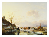 Skaters by a Booth on a Frozen River