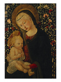 The Madonna and Child Seated before Rose Bushes  the Child Holding a Bird