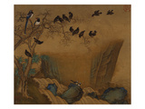 Mynah Birds Gathering in a Tree by a Stream from an Album of Bird Paintings