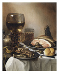 A Breakfast Still Life of a Roemer Ham and Meat on Pewter Plates  Bread and a Gold Verge Watch on