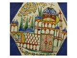 A Kutahya Pottery Hexagonal Tile Depicting a Cathedral with Floral Spray Above