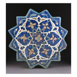 A Samarkand Cuerda Seca Stellar Tile of Twelve Pointed Form  the Blue Ground with a Central…