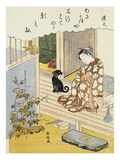 A Courtesan Seated on a Veranda Brushing Her Teeth and Pensively Looking at Flowering Morning Glory