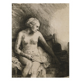 A Woman at the Bath with a Hat Beside Her