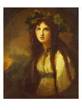 Portrait of Lady Hamilton as a Bacchante  Half Length  in a White Dress with a Blue Sash and a…