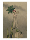 A Fairy Standing on Tiptoes on a Snowdrop