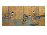One of a Pair of Six-Leaf Screens Depicting a Group of Three Young Women and an Actor Collecting…