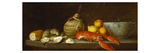 Bread, Oysters, a Chianti Flask, a Lobster, Lemons, Oranges and Glasses in a Porcelain Bowl on a… Giclée premium par Jacob Bogdany