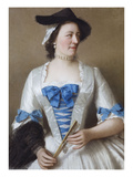 Portrait of Lady Tyrrell  Three Quarter Length  in a White Silk Dress with Blue Watered Silk Bows…