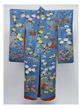 A Furisode of Sky Blue Silk Satin Embroidered in Coloured Silks and Couched Gilt Threads with…