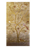 A Wall Hanging of Red Silk  Embroidered with a Tree of Life in Gilt Thread and Silks