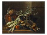 A Dead Mallard  a Boar's Head  Celery and a Copper Pot on a Ledge