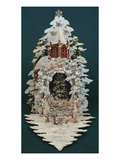 An Embossed Victorian Christmas Card in the Shape of a Snow Covered Christmas Tree