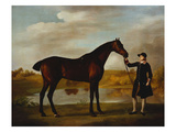 The Duke of Marlborough's () Bay Hunter  with a Groom in Livery in a Lake Landscape