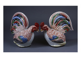 A Pair of Boldly Modelled Arita Cockerels Decorated in Iron-Red  Green  Blue-Black Enamels and…