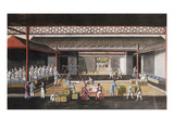 A Chinese Export Painting Depicting a Storage House Interior with Figures Packaging and Weighing…