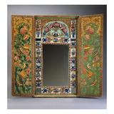 A Large Qajar Painted Mirror and Case  the Interior Doors with Gul-O-Bulbul Designs Painted on a…