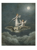 Two Fairies Standing on the Back of an Owl Beneath a Moon Giclée par Amelia Jane Murray