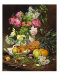 Roses in a Vase  Pears in a Porcelain Bowl and Fruit on an Oak Table