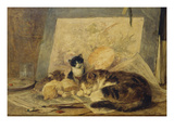 A Sleeping Cat and Kittens in an Artist's Studio