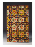 A Qajar Painted Ceiling Panel Comprising Two Rows of Four Yellow and White Stellar Panels…